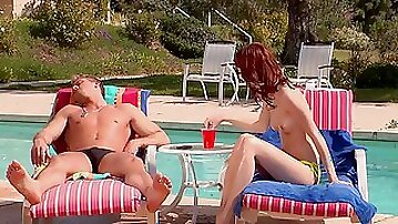 Skinny beauty fucked by the pool and made to swallow
