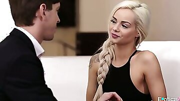 Petite blonde Elsa Jean pleases her lovers dick and gets her pussy slammed