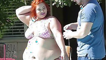Pool Date with very Fat Latina Beauty