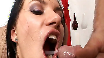 Jizztastic gal gets her gaping butthole ruined by two fat dicks