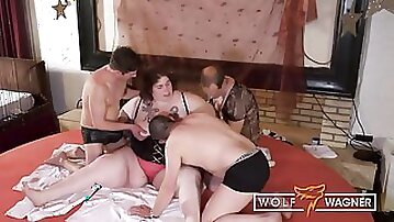Fat Girl Gets Special Treatment by Several Mature Men