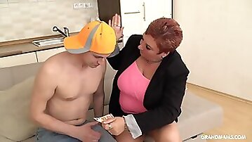 An old woman dominates her boy toy sexually and she loves being on top