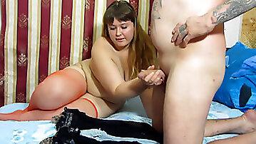 Utter dame jacks, Handjob her boyfriend. and he ends up on stockings.