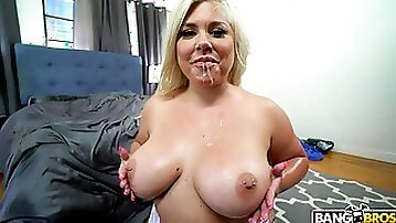 Big ass blondie Ashley Barbie spreads her legs to be fucked