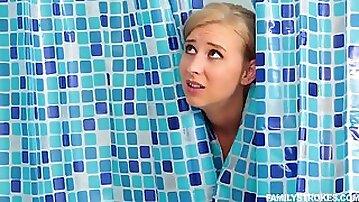Blonde with swinging boobs Alice Chambers fucks hard in bathroom