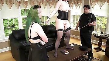 Submissive nerdy brunette maid Celine Y gives in to her punk mistress