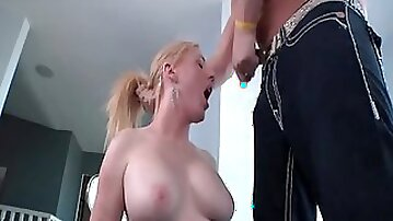 TS Juliette Stray gags on a big cock