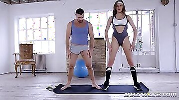 Sexy hot duo are doing yoga together